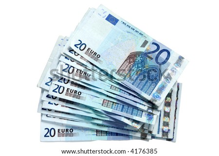 A stack of 20 Euro currency bank notes, isolated on a white background. #4176385