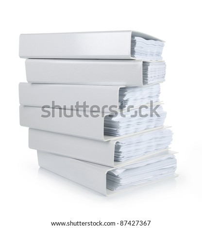 a stack of file binder on white background