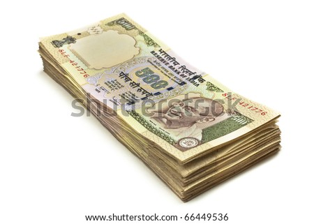 A stack of five hundred rupee notes (Indian currency) isolated on a white background.
