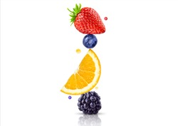A stack of fresh ripe summer fruits and berries isolated on white background. Blackberry, orange, blueberry, strawberry fruit stack in a row. Healthy life, balanced diet composition design concept