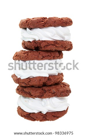 A stack of fresh, soft, chewy, cream filled chocolate sandwich cookies, known as Oreo Wannabes.