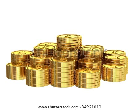 A stack of golden coins isolated on white background.