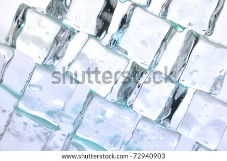 a stack of ice cubes , close up for background