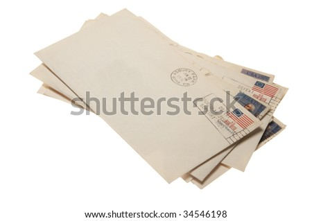A stack of letters postmarked June 22, 1976 Ashbury Park, NJ. Isolated on a white background withe a clipping path.