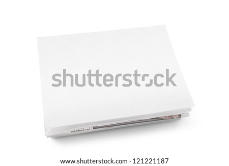 A stack of newspapers with blank space for information. Isolated on white.
