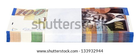 A stack of 100 NIS (New Israeli Shekel) money notes, isolated on white background.
