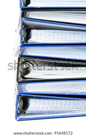 A stack of notebooks. Photos on white background