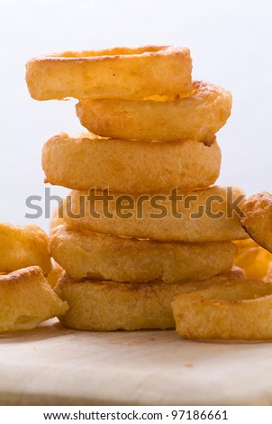 A stack of onion rings