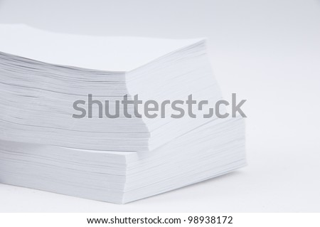 A stack of paper on a white background.