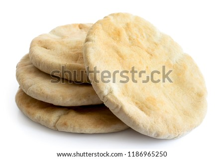 A stack of pita breads isolated on white from above. Stockfoto ©