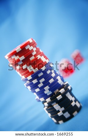 A stack of poker playing chips