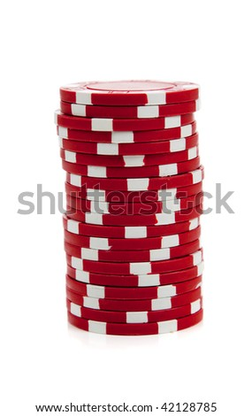 a stack of red and white poker chips on a white background
