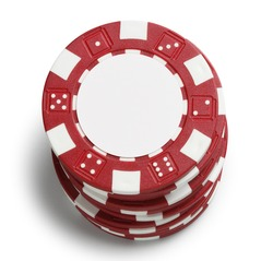A stack of red poker chips on a white background.