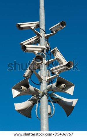 A stack of security cameras