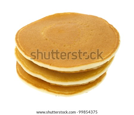 A stack of three plain pancakes on a white background.
