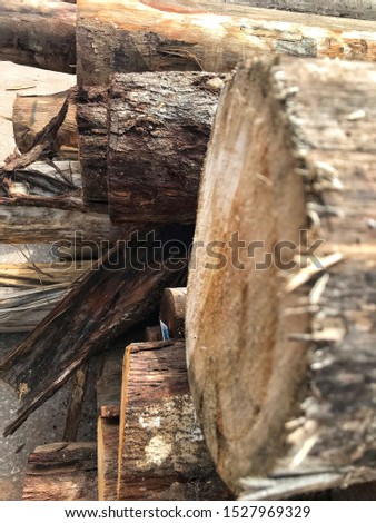 A stack of timber inside a timber factory, Perak.