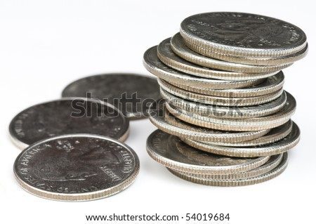 A stack of U.S. coins