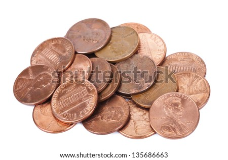 A stack of 1 US cent (penny) coins isolated on white background. This is the version of the penny that was produced between the years 1959-2008, depicting the Lincoln memorial.