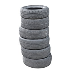 A stack of worn out  rubber tire isolated against white.