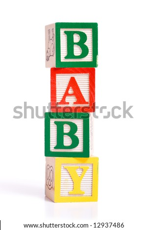 "A stack oif children's alphabet blocks spelling the word ""BABY"" on a white background"