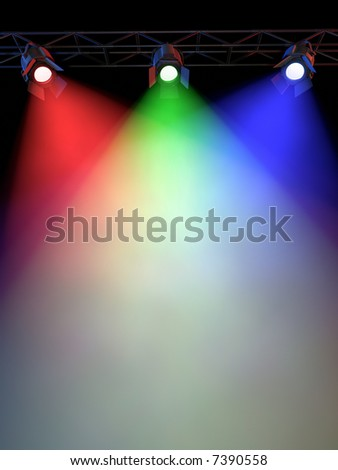 A Stage Light Rack with 3 RG&B Colored Spotlights Shining down towards the middle of the layout in a dark area.