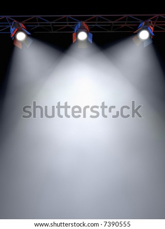 A Stage Light Rack with 3 Spotlights Shining down towards the middle of the layout in a dark area.
