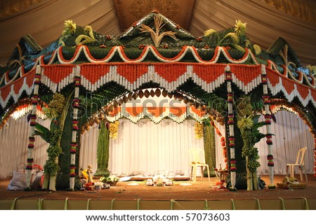 stock photo A stage traditional decorated for a hindu wedding