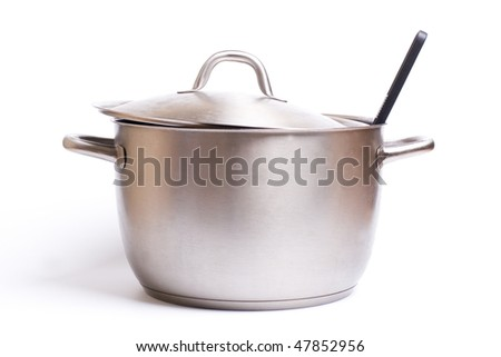 A stainless pan isolated on a white background.