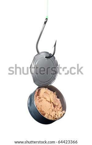 A stainless steel fishing hook snagged an open can of tuna.
