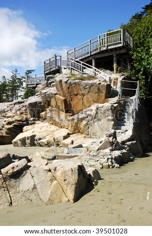 A stair to the beach in pacific rim national park, vancouver island, british columbia, canada