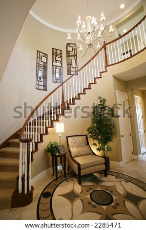 Beautiful Houses Interior on Stock Photo   A Staircase And Entry Way In A Beautiful Home Interior