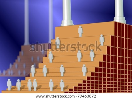 A stairway as a corporate ladder with every next stair is taller and harder to climb / corporate ladder - stock photo