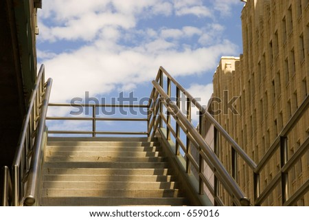 A stairway leading up to the sultry heavens in downtown Denver's theatre district area.