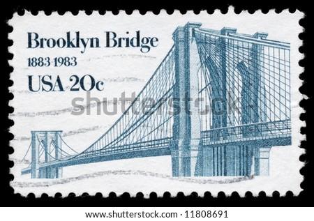 A Stamp celebrating Brooklyn Bridge 100 years