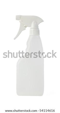 A standard blank spray bottle. All on white background.