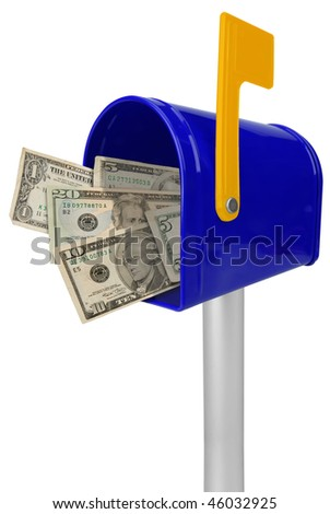 A standard blue mailbox American money and flag isolated over white - stock photo