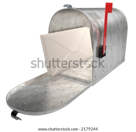 A standard galvanized mailbox with mail and flag up over white.