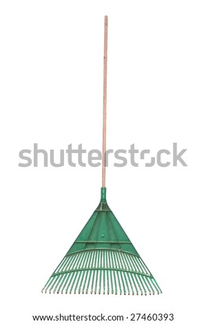 A standard isolated image of a green plastic rake.