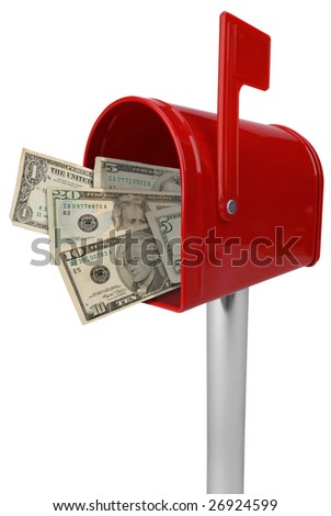 A standard red mailbox American money and flag isolated over white