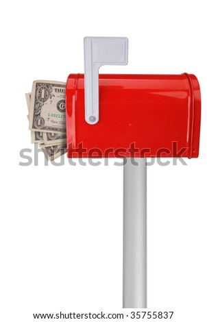 A standard red mailbox with a white flag and money over a white background