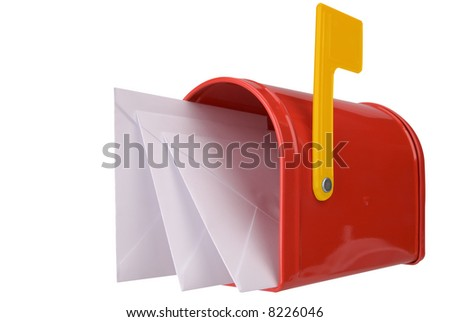 A standard red mailbox with mail and flag isolated over white