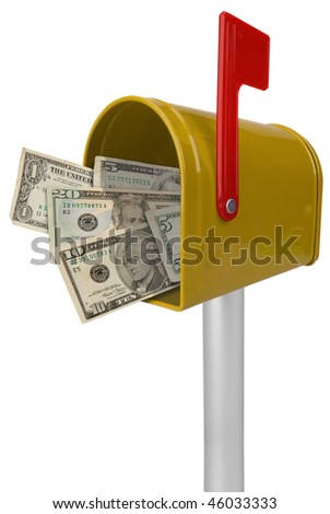 A standard yellow mailbox American money and flag isolated over white