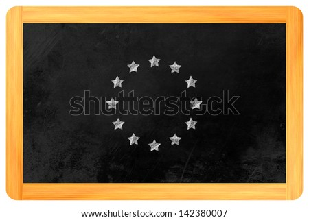 a star circle such as the flag of the european union with chalk on a blackboard
