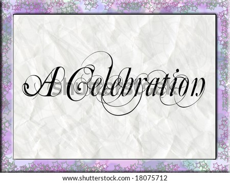 A star framed border with a textured background and celebration type.