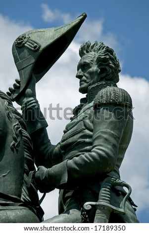 A statue by Clark Mills, in Layfayette Square, Washington, DC, of President Andrew Jackson riding his horse. Jackson was the seventh president of the United States from 1829 to 1837. - stock photo