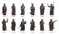 A statue of a 12 Chinese Zodiac made from brass, such as the Year of the rat, cow, tiger, rabbit, dragon, snake, horse, goat, monkey, rooster, dog, and pig isolated on white background
