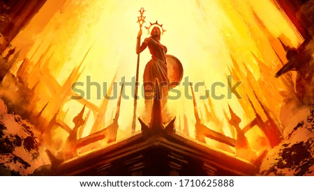 A statue of a Greek goddess with a shield and staff stands in the middle of a divine city with high towers. drawn from a dynamic angle from below . 2D illustration.