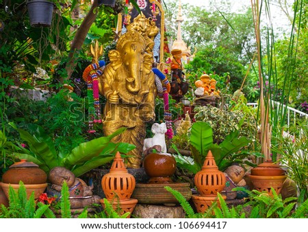 a statue of an elephant in Thai temple