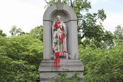 A statue of George Washington in Druid Hill Park, Baltimore was defaced with red paint over the Black Lives Matters protest.