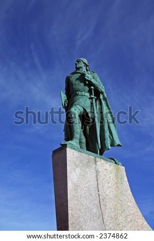A statue of Leifur Eiriksson in Reykjavik